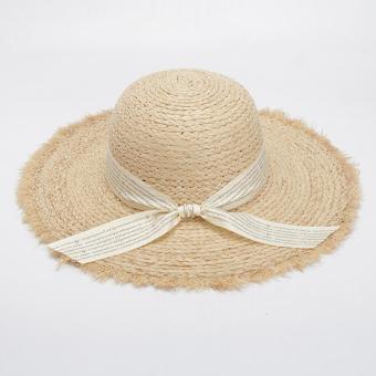 Eozy Wanita Musim Panas Matahari-Bayangan Straw Topi Lebar Pinggiran Pantai Topi  Matahari Jalanan Modis 409b0c6201