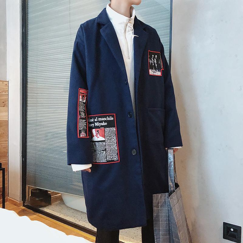 Musim gugur dan dingin Jaket angin Pria model setengah panjang Trendi wol  Mantel pria Gaya Korea e64dec6cb4