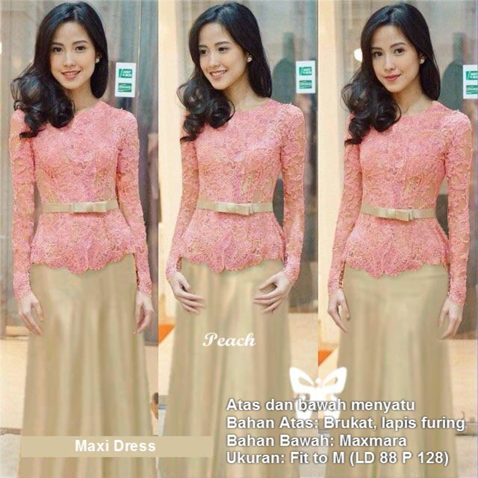 Maxi Dress Lengan Panjang Brukat Msr149 Kebaya Modern Gamis Syari Gaun Pesta Muslimah Baju Muslim Wanita Syar I Hijab Brokat Srmeliana