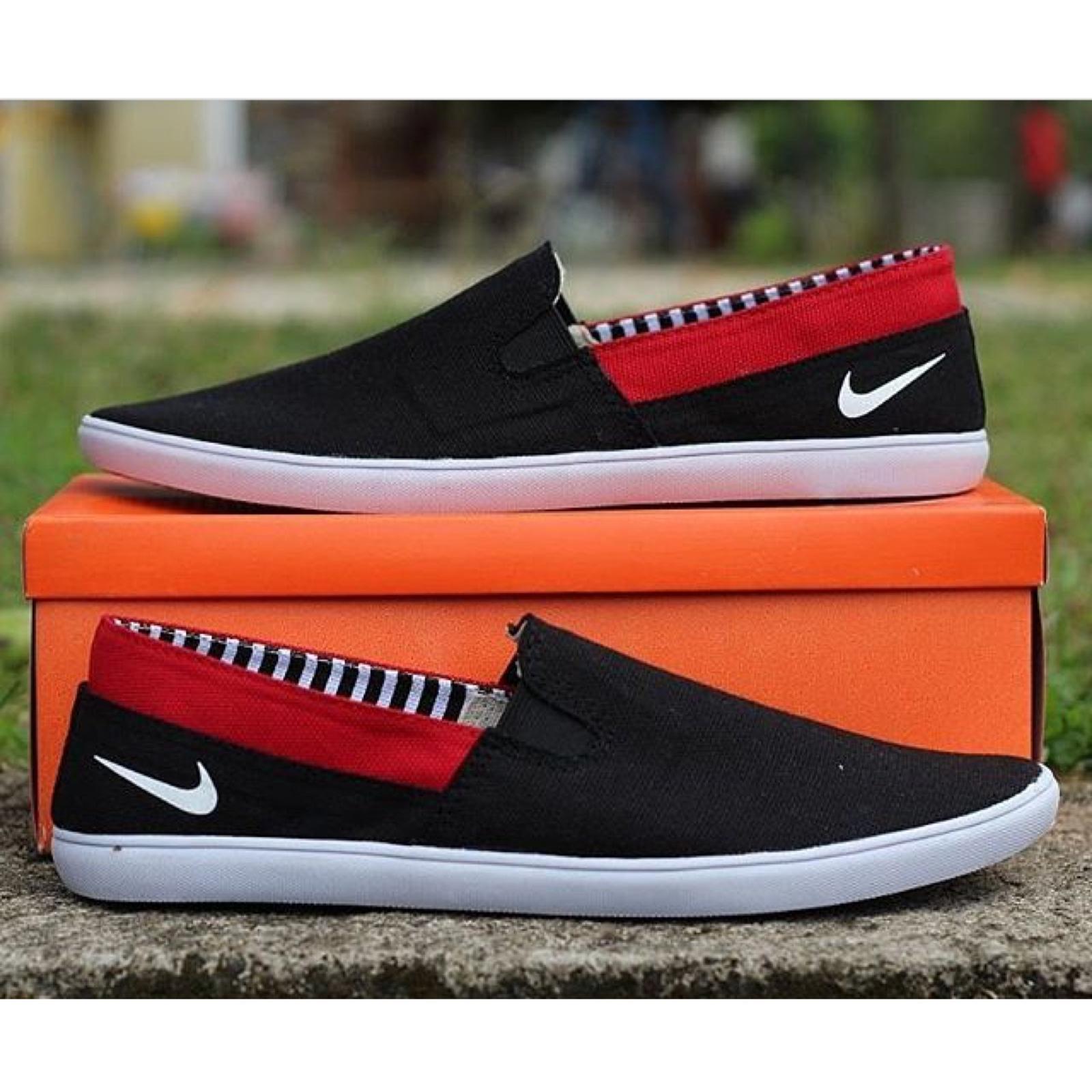 Sepatu Slip On Pria Fashion Lazada Casual Murah - Navy List Merah a4e211eaed