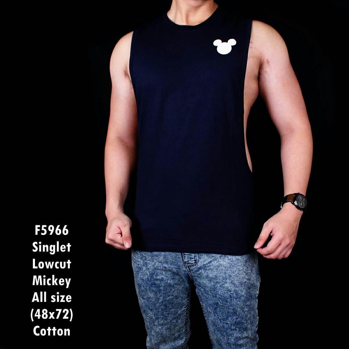 Singlet Kaos Kutang Tanktop Low Cut Mickey Symbol Navy 5966Rp55.000