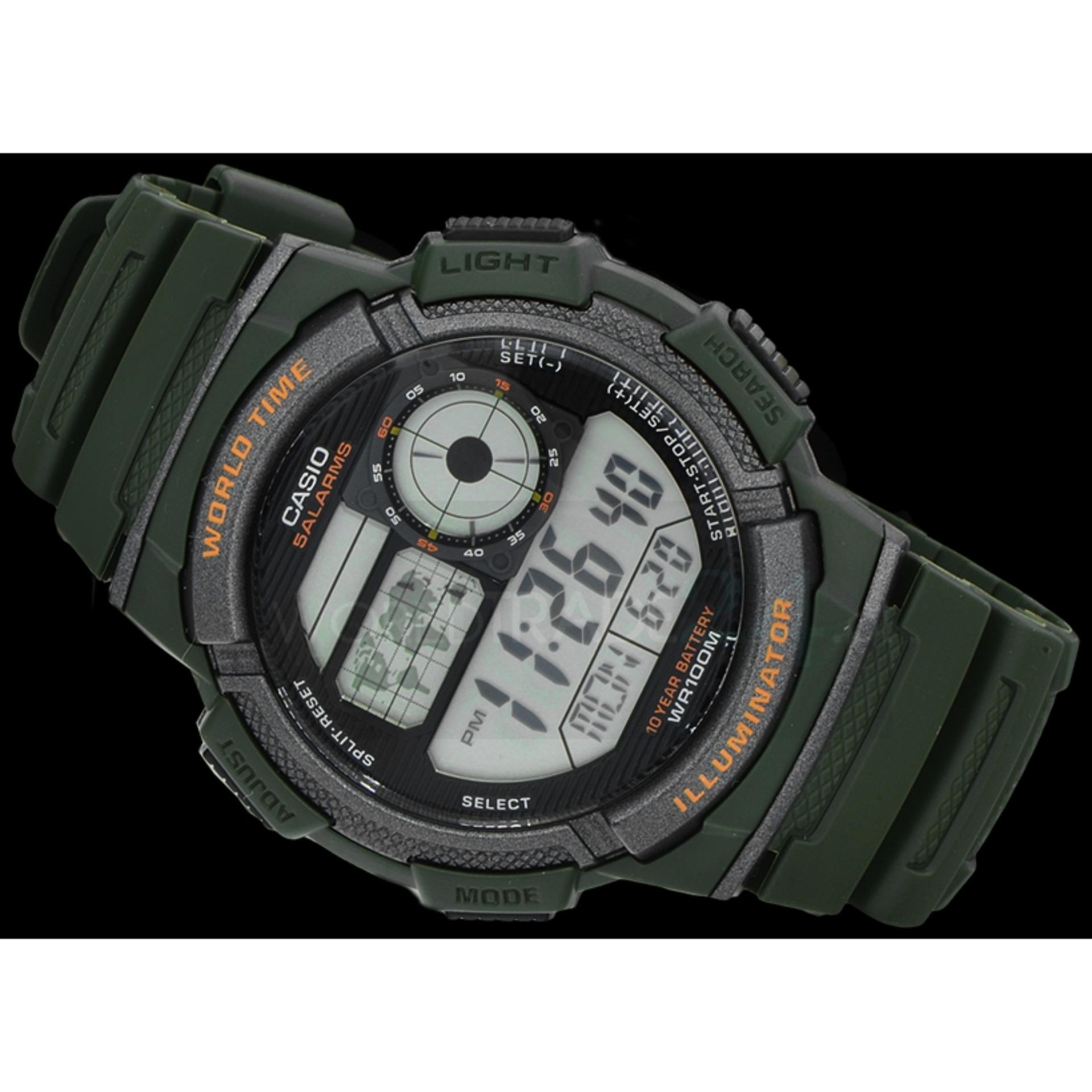 CASIO Illuminator AE-1000W-2AVDF - Jam Tangan Pria - Tali Karet - Digital  Movement - Biru  fb5dfd4c48