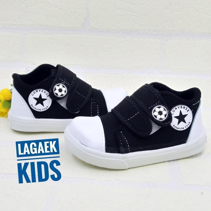 DISKON sepatu anak keren velcro baby sport hitam perekat 1 2 3 tahun SKU-ZZH