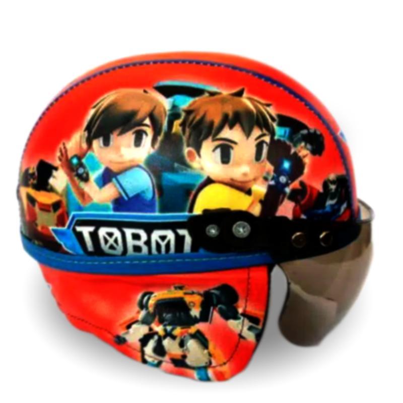 Helm Anak Unyu-unyu Model Retro Chip/Printing Karakter TOBOT Usia 1-4
