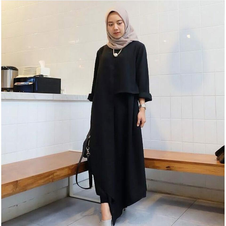 Bawahan Dress Muslim Fashion Exclusive Daftar Harga Bawahan Source · Ria Store Inul Dress Black Busana Muslim Wanita MC223 Inul Dress Black Maxi