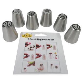 Mitra Loka - Dekorasi Kue Pipa Nozel 6Pieces Stainless Steel - Abu