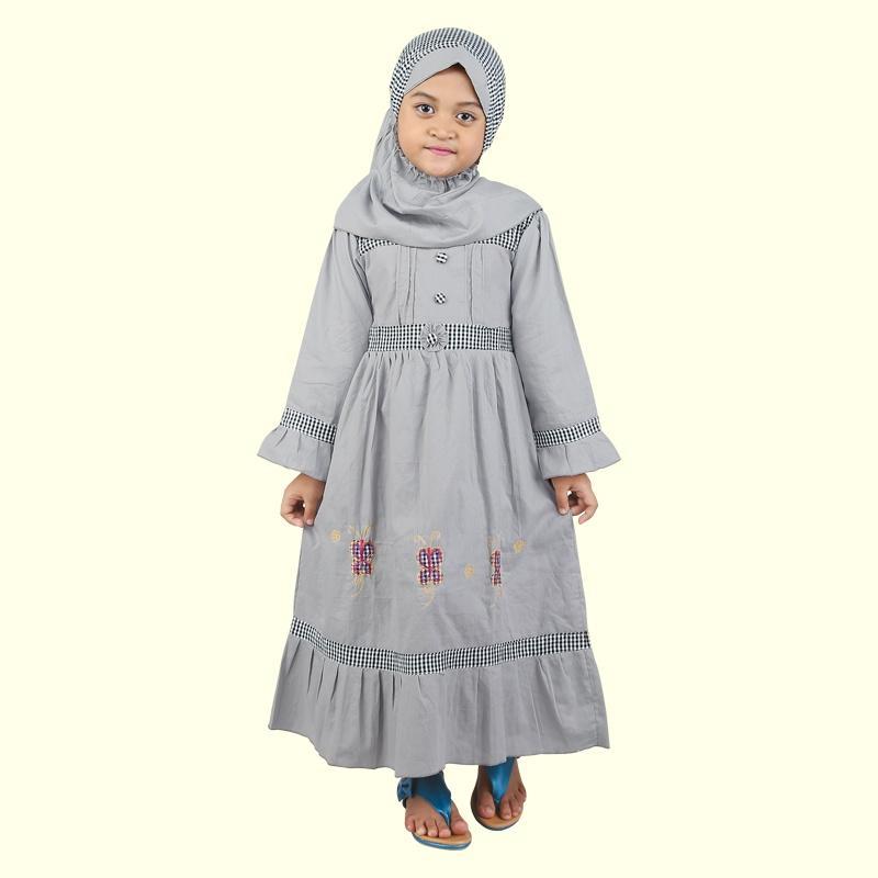 Gamis Panjang Anak Perempuan Umur 4 - 10 Tahun CSG 104-541 Abu Abu