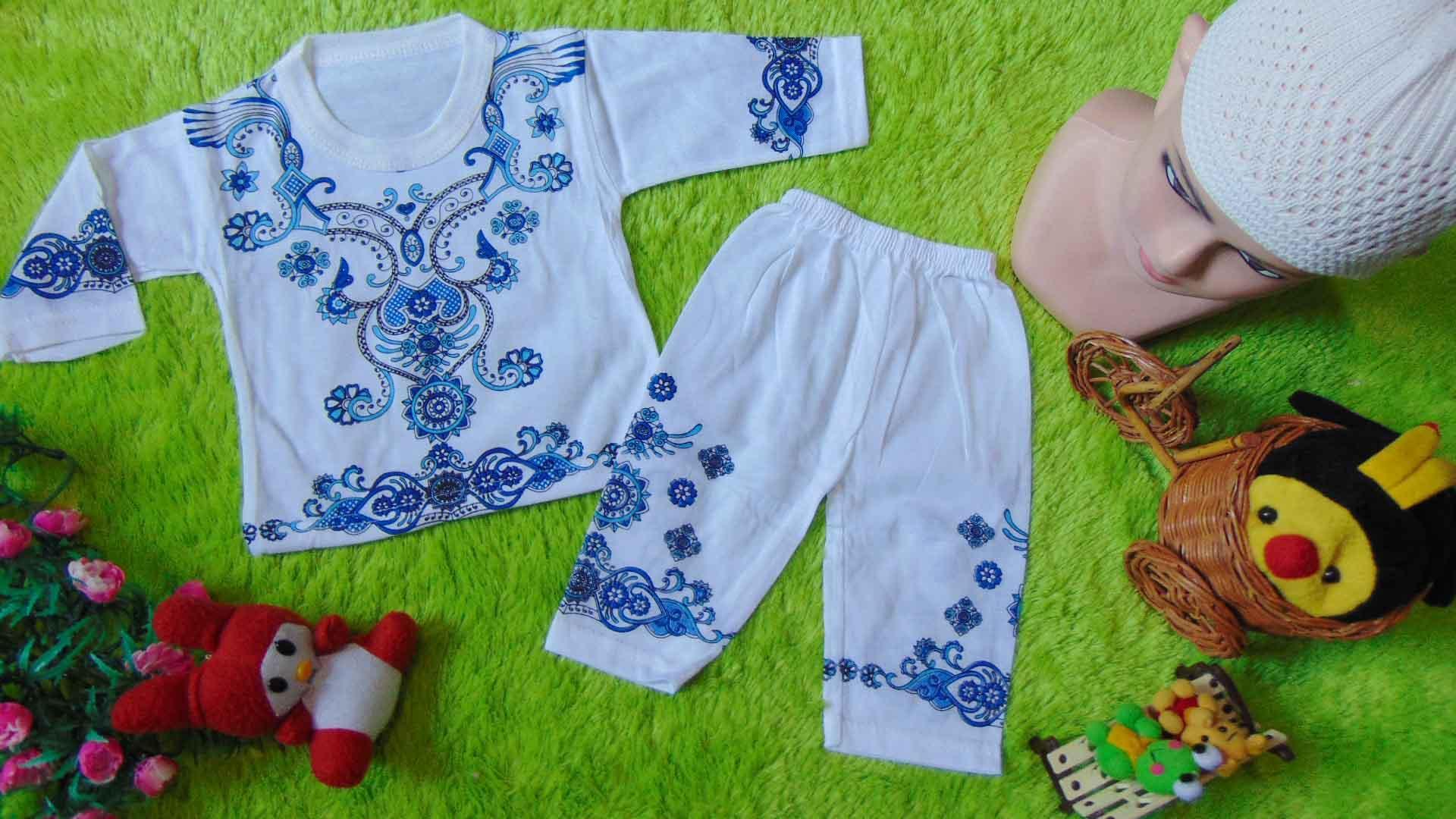 kembarshop - PALING MURAH set baju koko bayi newborn 0-6bulan putih sablon ukuran S