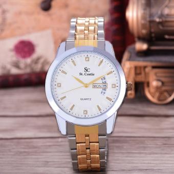 Saint Costie Original Brand, Jam Tangan Pria - Body Silver/Gold - White Dial