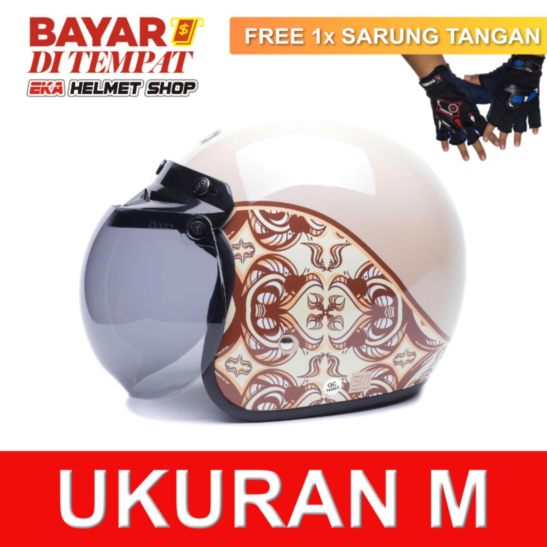 WTO Helmet Retro Bogo - Classic Batik - Krem + Promo Gratis Sarung Tangan 9e919d11fe