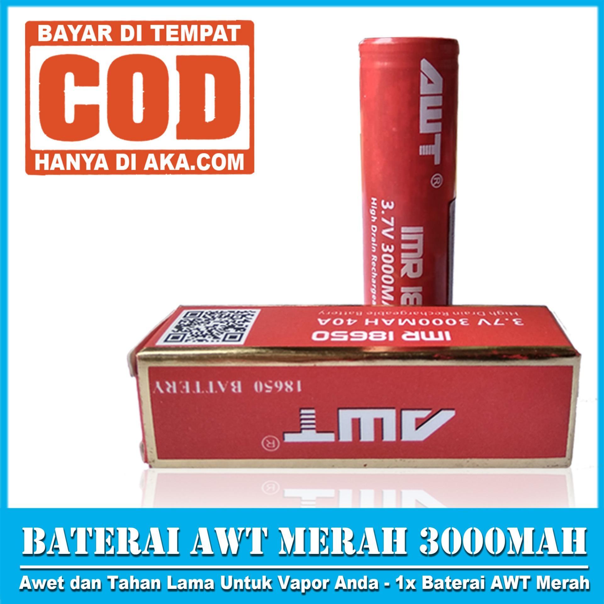 ... Baterai AWT MERAH IMR 18650 3000 Mah 3 7V 40A FREE LIQUID 10ML RANDOM Baterai Vapor