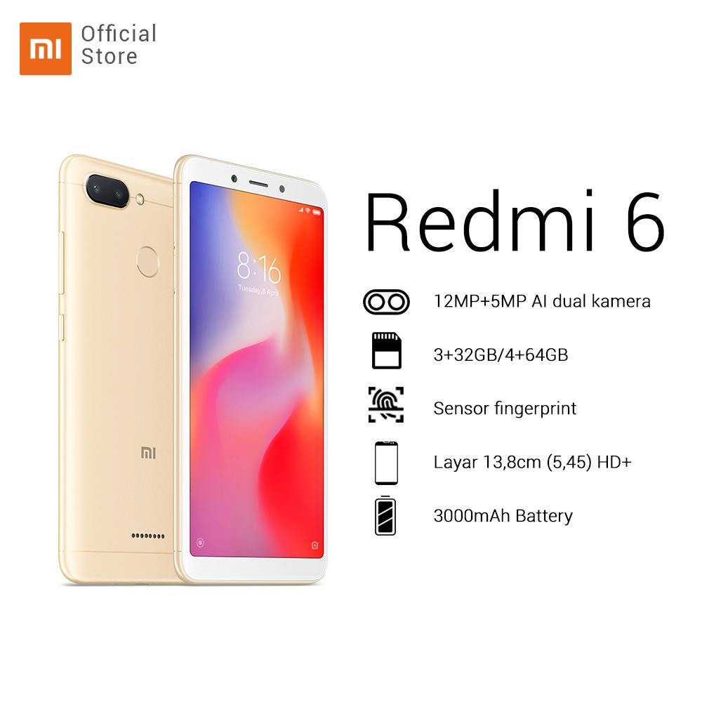 "Redmi 6 4/64GB + dual camera 12MP + 5MP HD 5,45"" AI face unlock 12nm Octa-core processor baru 2+ 1 slot Battery 3000mAh"