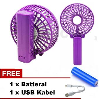VOTRE Kipas Mini Lipat Portable Small Fan Rechargeable - Ungu / Warna Acak + Free Batterai