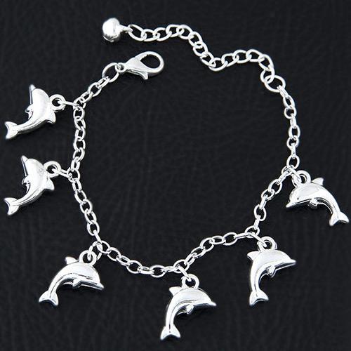 LRC Gelang Tangan Fashion Silvercolor Dolphin Shape Pendant Decorated Pure Color Bracelet