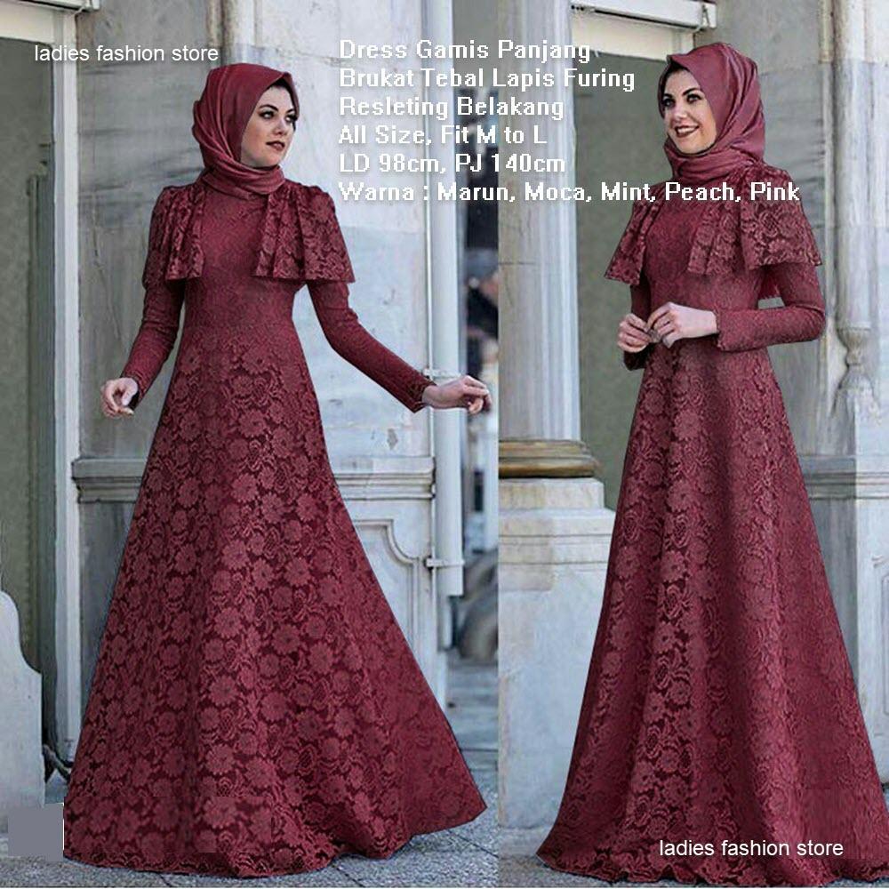 Gamis Brukat / Brokat Muslim / Maxi Dress / Gaun Modern Muslimah / Gamis  Dress Model Terbaru / Gaun Lengan Panjang Brukat / Gamis Syari / Gaun Pesta