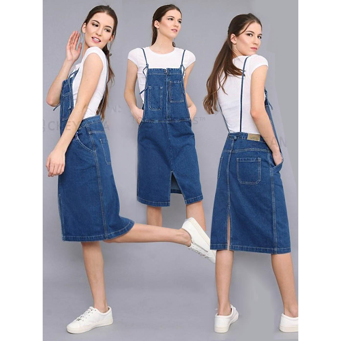 Home · 168 Collection Dress Celine Overall Jeans Biru Tua; Page - 3. Jumpsuit Dress Wanita Feminim Young CW 337 Overall Jeans Soft Blue Tanpa Inner
