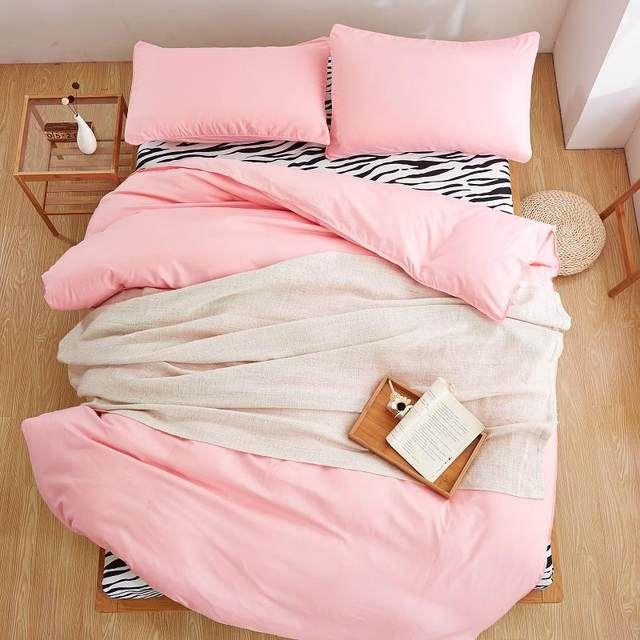 Selimut Bed Cover dan Sprei SET Marvelo Katun Polos Pink lembut