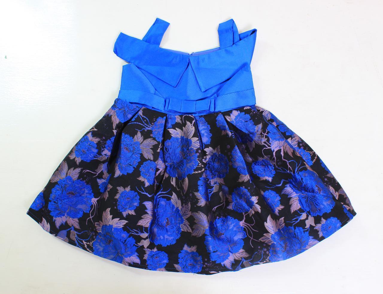 PLAYFUL TOTS Dress Sabrina Anak Bunga Bunga Dongker