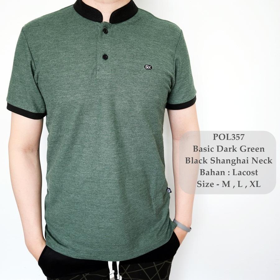 Polo Shirt Pria Shanghai Kaos Cowok Pakaian Distro Murah Baju Kerah Polos Bahan Lacoste Warna Hitamnavyputihmarun