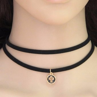 LRC Kalung Wanita Elegant Black+Gold Color Hollow Out Cross Pendant Decorated Double Layer Simple