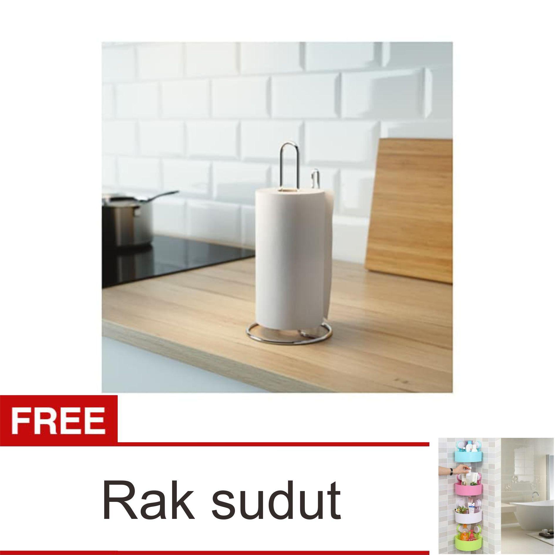Lanjarjaya Stainless Steel Tempat Tissue Roll Gulung / Torkad Kichen Roll Holder - Silver + Rak