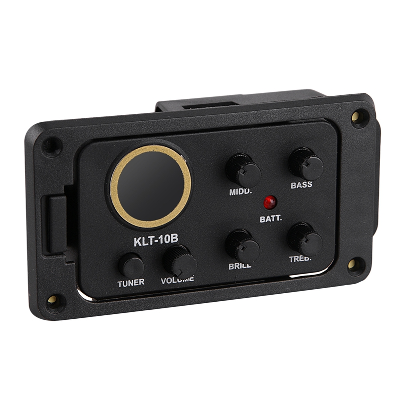 KLT-10B 4 Band EQ Equalizer Preamp Guitar Pickup with Tuner Hard Bridge Piezo Pickup for Guitar 36 and 38 Acoustic Guitar with Endpin Cover