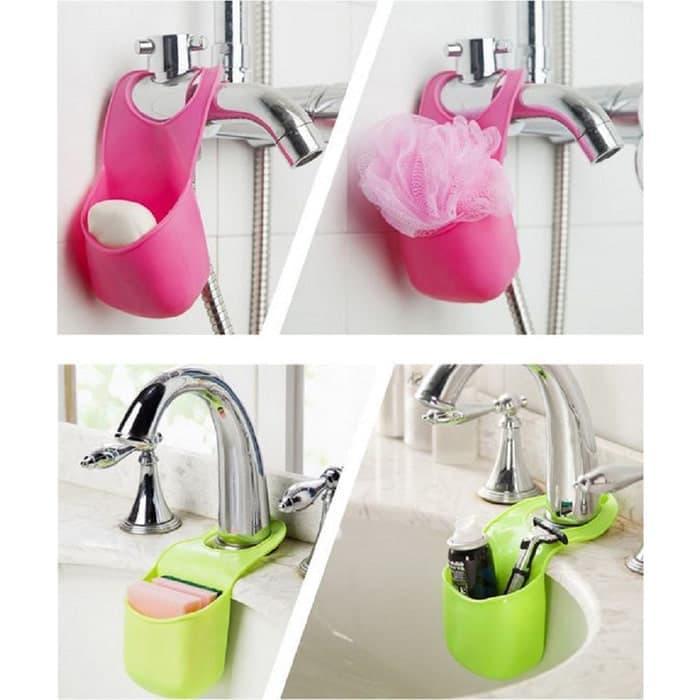 Tempat Silicon Sikat Sabun Dan Spons / Gantungan Kran Wastafel Sink Dapur / kamar mandi Serbaguna