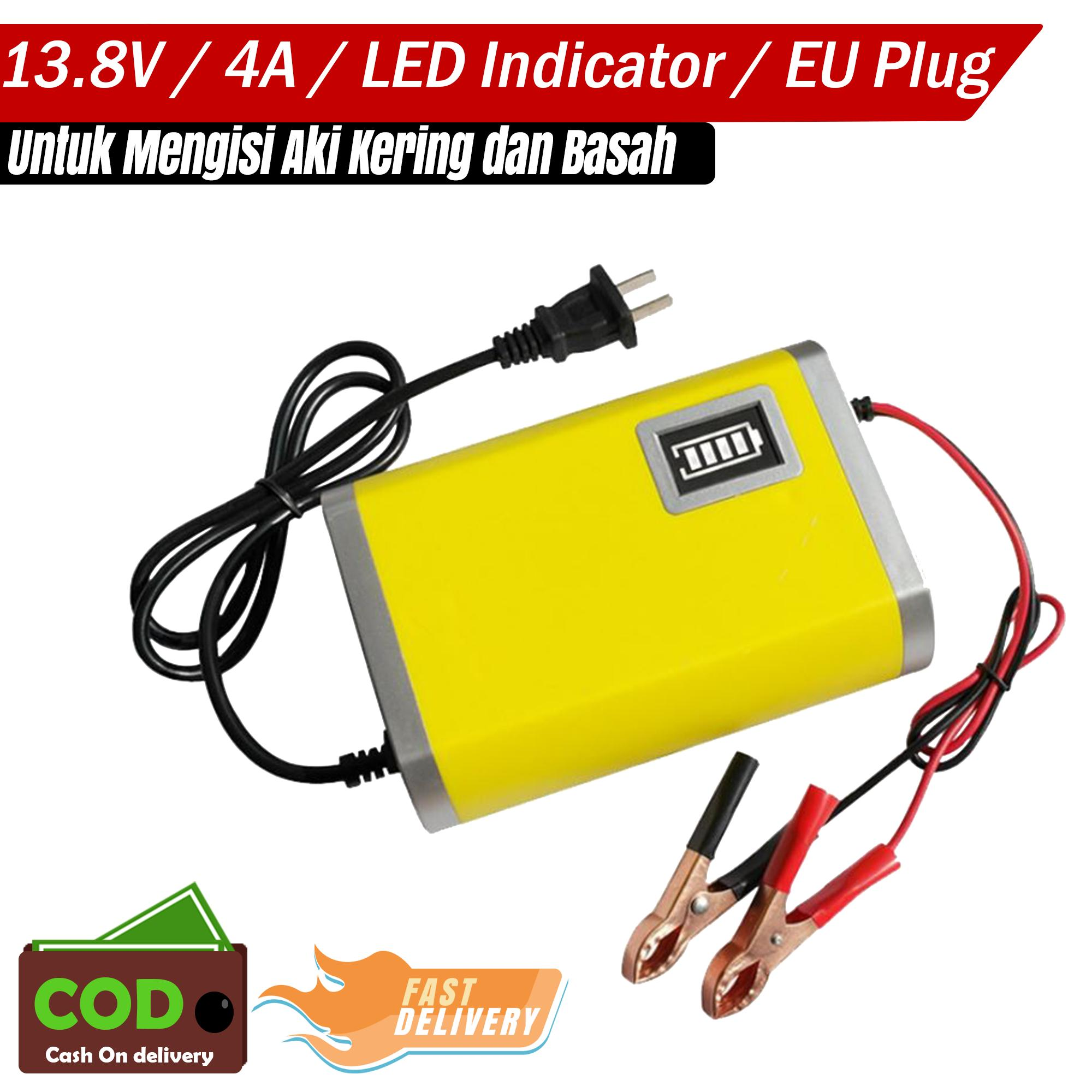 Charger Aki Mobil Motor 13.8V 4A Portable with LED Indicator