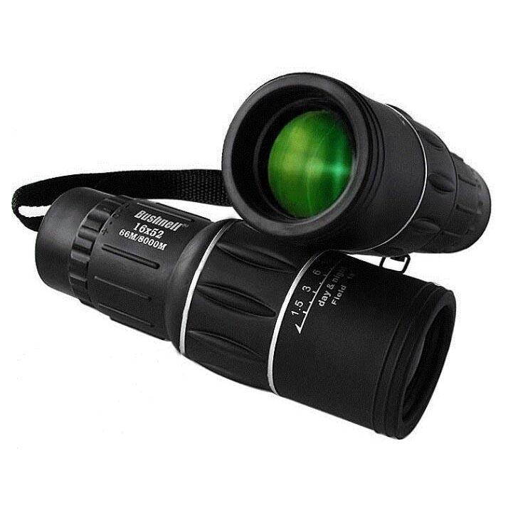 Bushnell Teropong Monokular 16x52 Focus And Zoom Lens Adjustable Telescope - Black By Asahi Computer.