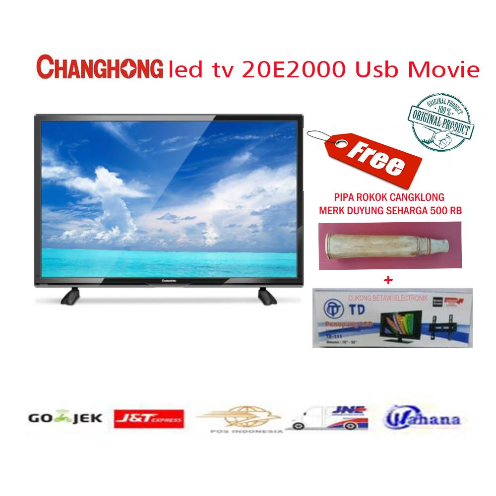 Changhong 20E2000 HD LED TV - Hitam [20 Inch/USB Movie/Hemat Energi]