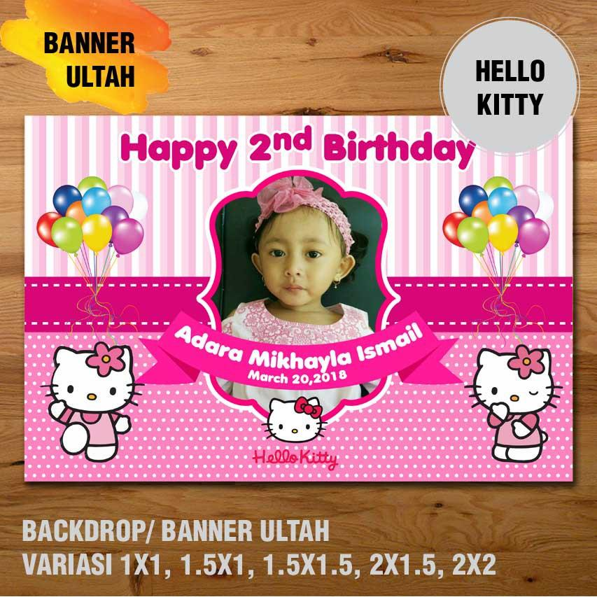 Hello Kity Banner Backdrop Spanduk Ulang Tahun Ul Tah M X M