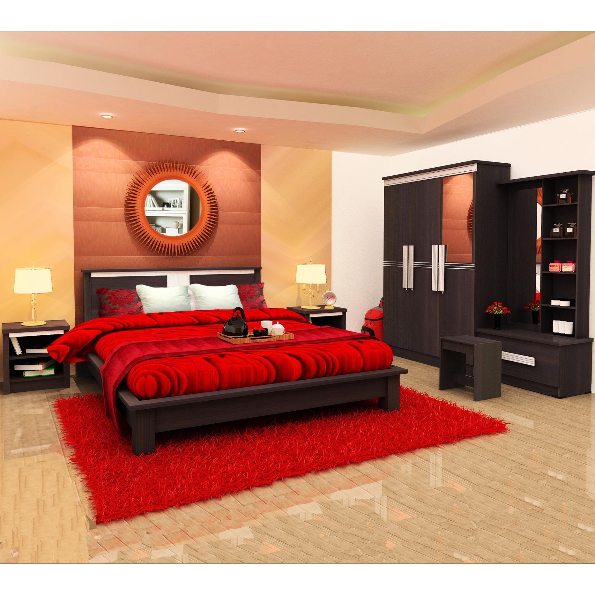 Lemari Pakaian, Ranjang, Nakas, Meja Rias (bedroom Set Red) By Furniture Minimalis