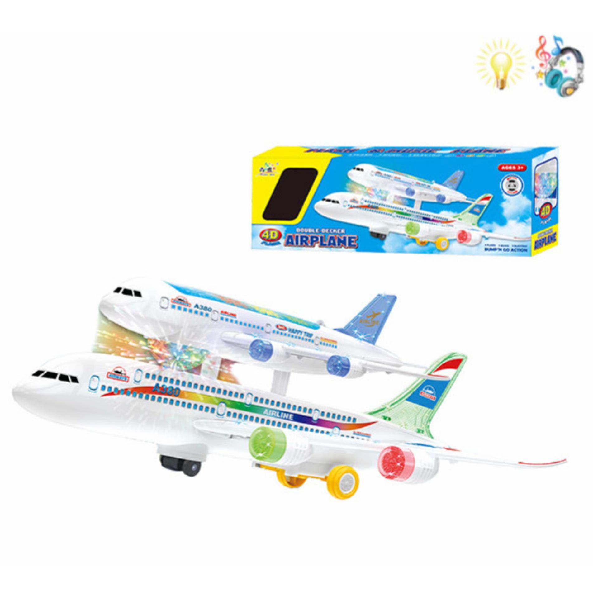 (TERDAPAT LAMPU & MUSIK) RKJ Mainan Anak Baterai Pesawat AirPlane Double Decker 4D