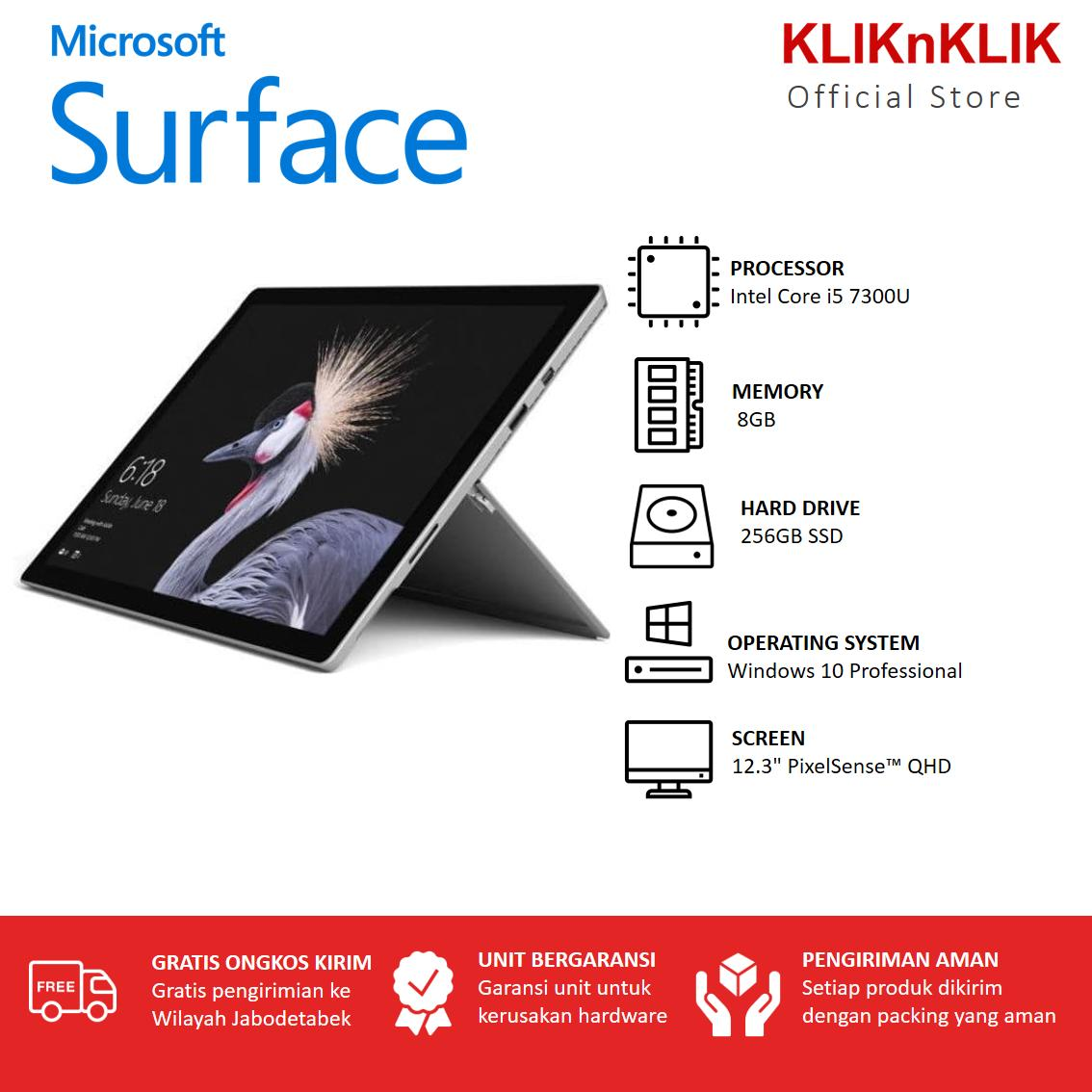 MICROSOFT Surface Pro 5-Core i5 7300U-8GB-256GB SSD-12.3 PixelSenseTM/Touch-Win 10