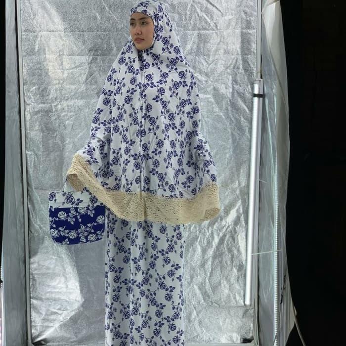 Mukena katun jepang mawar Navy Rajut / fashion / perlengkapan shalat / alat shalat / elegant / nyaman dipakai / model terbaru 729
