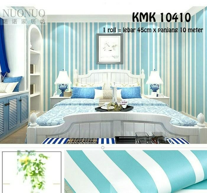 Wallpaper dinding Minimalis New garis biru putih 45cm x 10m -Quality