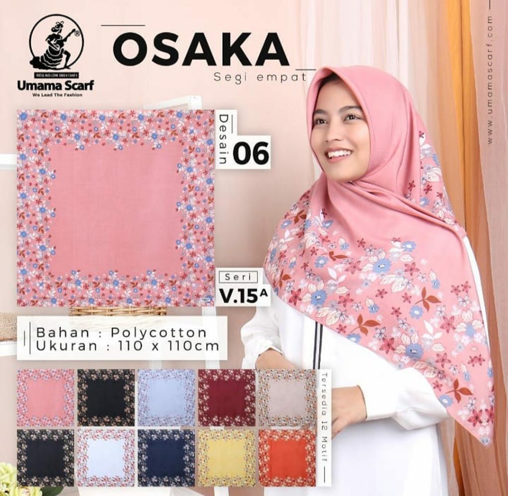 Jilbab / Hijab Umama Scarf Osaka 06 v15a Segi Empat Motif Print (1 seri 10pcs 10 warna)