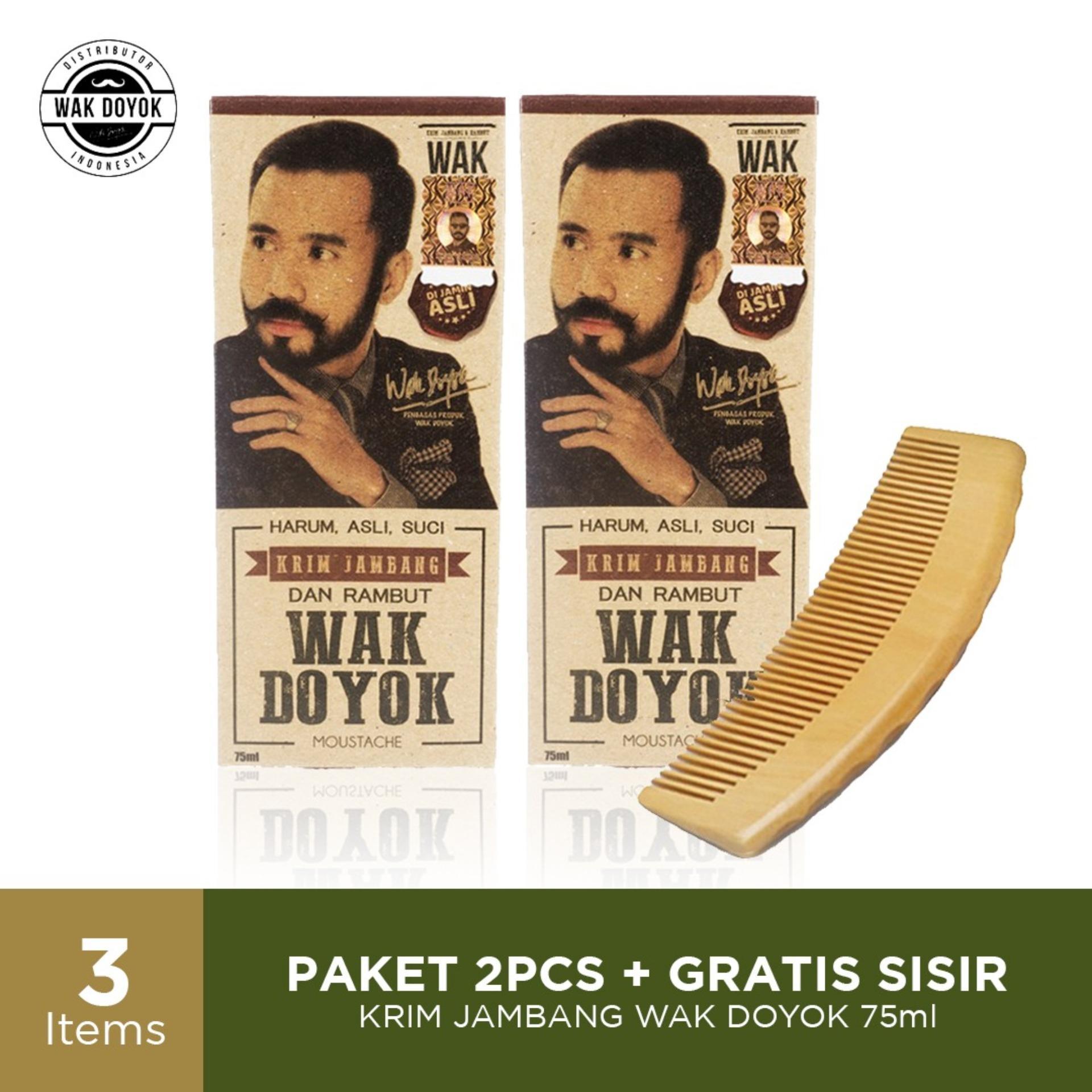 Promo 2pcs Wak Doyok Cream 75ml (besar) Original Free Sisir - Wakdoyok Krim Penumbuh Jambang, Rambut Dan Alis By Wak Doyok Indonesia