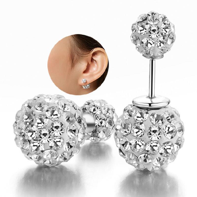 4bdbb6f1f LANGFashion Womens 925 sterling Silver Double Crystal Ball Ear stud  Earrings Jewelry