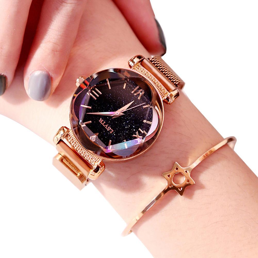 Gravitational wave Fashion Women Waterproof Magnetic Starry Roman Numbers Analog Quartz Wrist Watch Malaysia