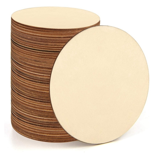 60PCS Wooden Circle Door Hanger, Unfinished Round Wood Slices for Pyrography, Painting and Wedding Decorations