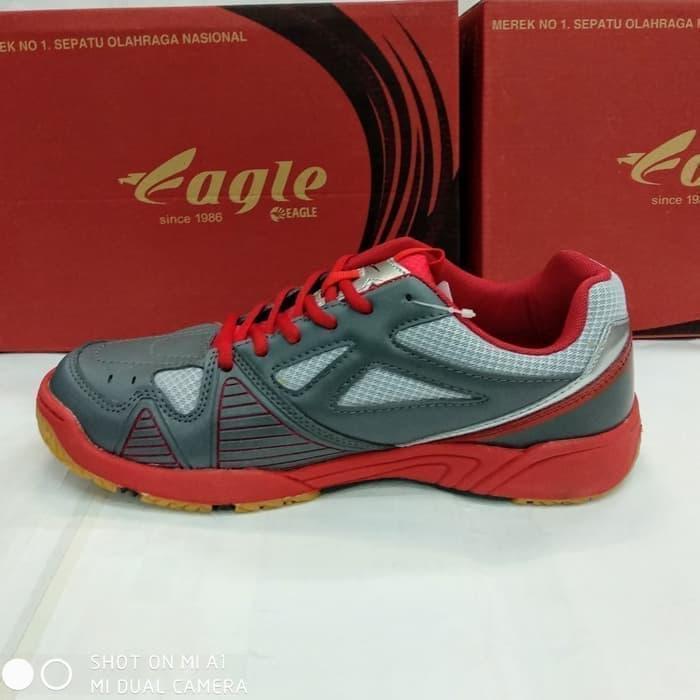 Sepatu running badminton eagle marcus grey red original
