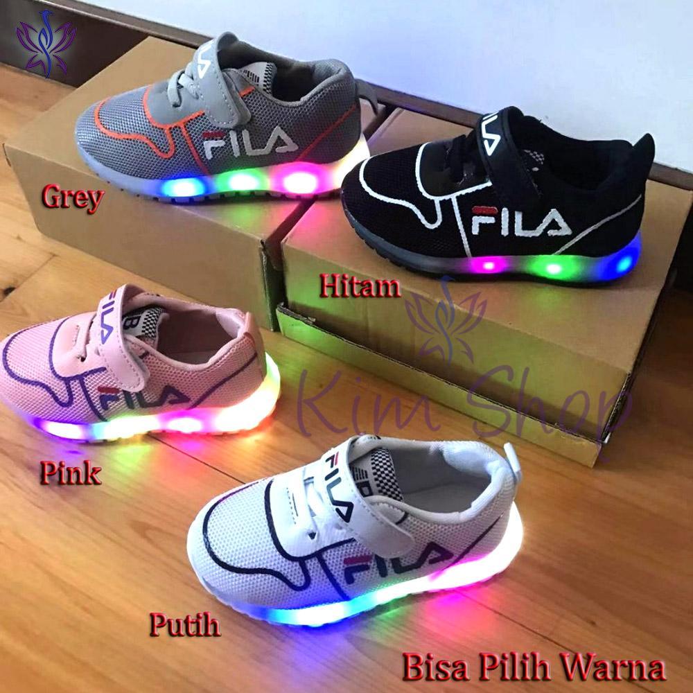 Sepatu Lampu LED Anak Laki Import Sol Karet Sepatu Kets Sneakers Anak Cowok umur 1 2 3 4 5 Tahun