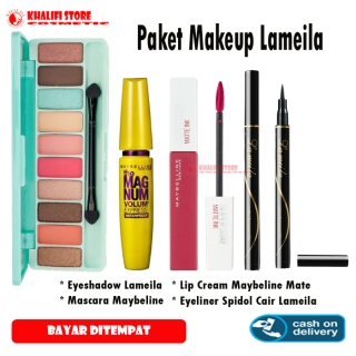 Paket Makeup Kosmetik Murah - Eyeshadow Eye Shadow Lameila + Eyeliner Eye Liner Spidol Hitam Waterproof + Maskara Mascara Maybeline + Lipstik Lip Cream Mate Ink thumbnail
