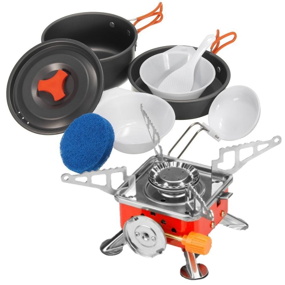 Paket alat masak camping kompor gas kotak dan Cooking set nesting ds-200 untuk 2-3 orang