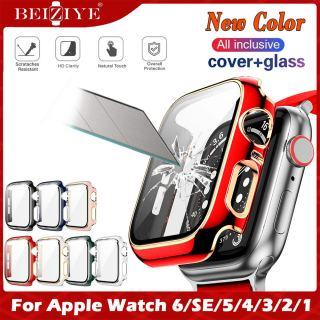 Ốp lưng + Kính cường lực cho Apple Watch 44mm 40mm 38mm 42mm Bảo vệ màn hình Bảo vệ ốp lưng cho apple watch series 6 5 4 3 2 SE cover Tempered glass film acceccories thumbnail