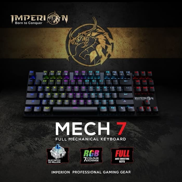 Imperion Mech 7 RGB TKL Keyboard Gaming Mechanical - Original  - sedia keyboard mechanical rgb gaming hp tkl putih koodo kecil blue switch da gaming aula murah full set rexus wireless logitech asus razer mini rog armageddon komputer
