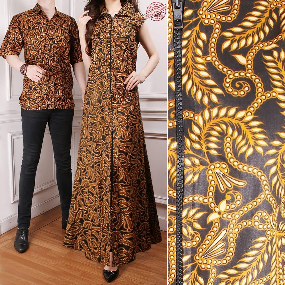 Miracle Couple Gamis Batik Maxi Amara Long Dress Wanita dan Kemeja Batik Pria Coklat All Size