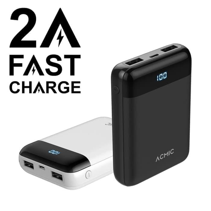 Acmic D10 10000mah Mini Powerbank (digital Display + 2a Fast Charge) - Hitam - Ready Stock By Anorastores.