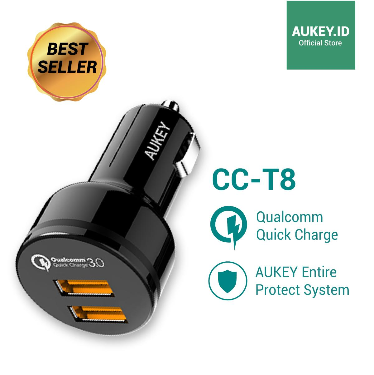 [STOCK TERBATAS] Aukey Car Charger CC-T8 Qualcomm Technology - 2 Ports (. Ke Toko